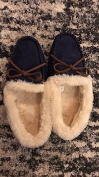 Pair of size 8 JCREW navy suede slip-on shoes