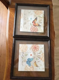 Two brown wooden framed paintings of flowers Vaughan, L4L 1S2