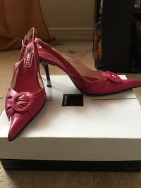 Pair of pink leather pointed sling-back stilettos with white box Dumfries, 22026