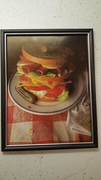 CLUB SANDWICH WITH PICKLE ON PLATE VINTAGE PHOTO