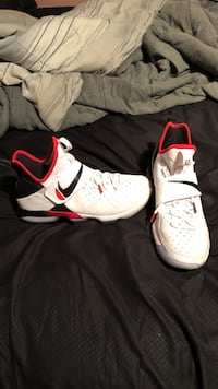 white-red-and-black Nike basketball shoes