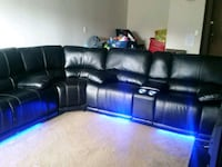 black leather sectional couch with ottoman 588 mi