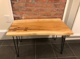 Sugar maple coffee table with quarter sawn white oak bow ties