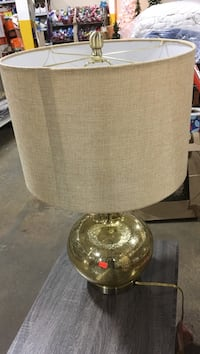 Brass-colored base brown drum lampshade table lamp Asheboro, 27203