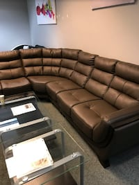 Brown Mixed Leather sectional  Atlanta