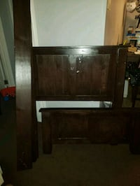 brown wooden twin bed frame with mattress  Los Angeles, 90042