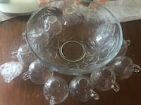 25-Piece Glass Punch Bowl Set by Elements In Box - Grape Arbor Pattern New Carrollton, 20784