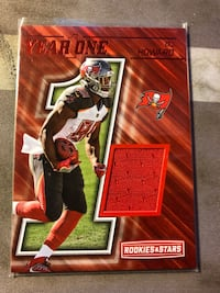 a 2017 Panini Rookies & Stars certified Jersey Rookie Card of O.J. Howard of the Tampa Bay Buccaneers.  Card is #28.  Fresno, 93727