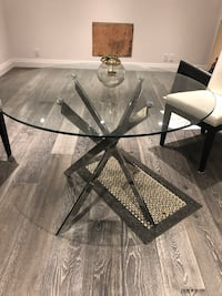 Glass Pedestal Dining Table with Chrome Base Toronto, M9L 1V6