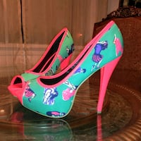 New pin up girl pastel summer heels 8.5 Livonia