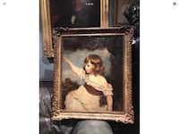 Large antique oil painting on canvas master hare sir Joshua Reynolds 18th century copy period hand carved wooden frame 31in 36in London, SE3 8HN