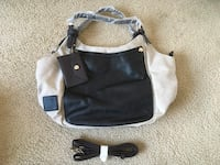 Shoedazzle Off White and Black Purse Silver Spring