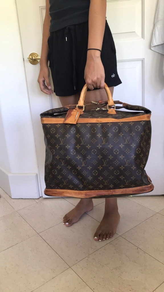 e10b9eb9ee2 brown and black Louis Vuitton leather tote bag for sale Beverly Hills