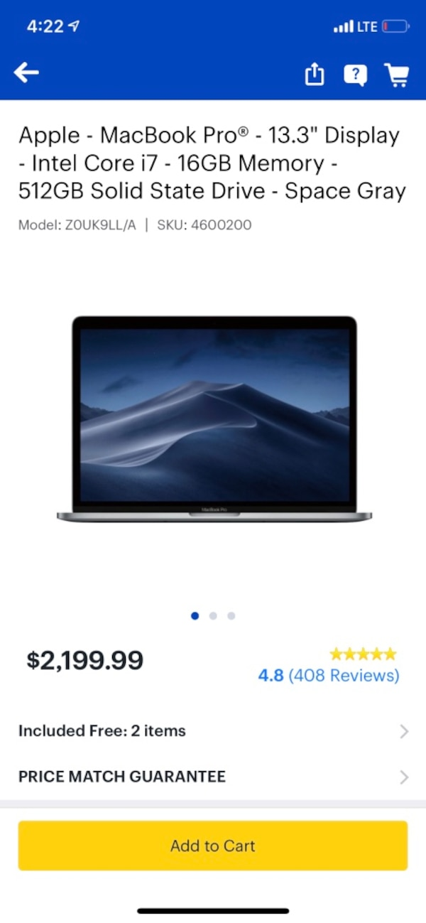 Macbook Pro 13.3 inch i7 Nonnegotiable!