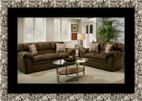 Chocolate fabric sofa and loveseat Ashburn