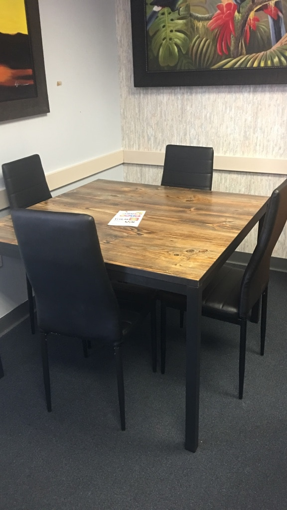 Used Square Brown And Black Wooden Dining Table With Four Black Leather  Parson Chair Set For Sale In Dallas   Letgo