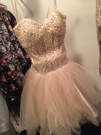 women's pink and silver sequined strapless dress Kansas City, 64133