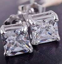 NEW princess cut gold filled earrings men or women