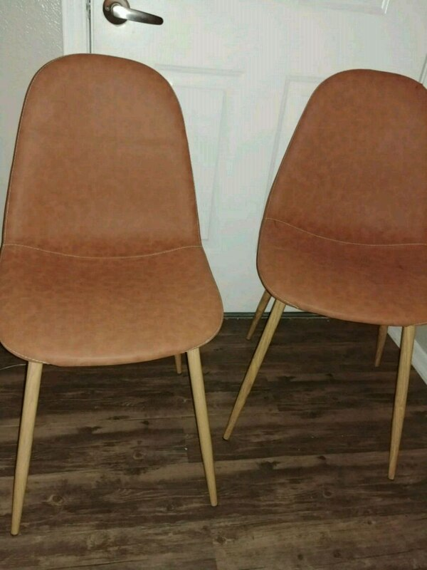 2 Brown Soft Leather Feel Retro Bucket Chairs