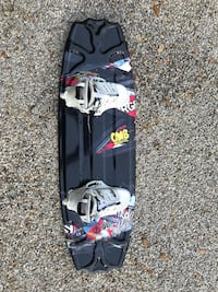 Black, white, and red wakeboard deck with binders Austin, 78733