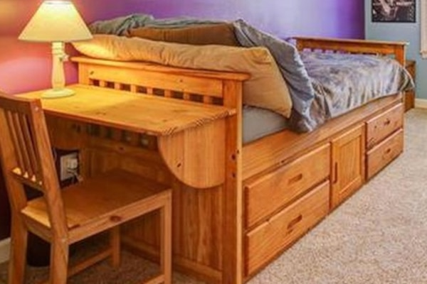 Twin wood bed with storage and desk