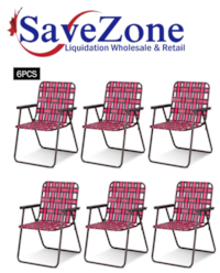 New- 6pcs Folding Beach Chair Camping Lawn Webbing Chair Lightweight 1 Position Red Mississauga