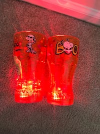 "Halloween Disney Mickey Mouse & peanuts snoopy 6"" Orange Flashing Light-Up plastic Cup (pick up only) Alexandria, 22304"