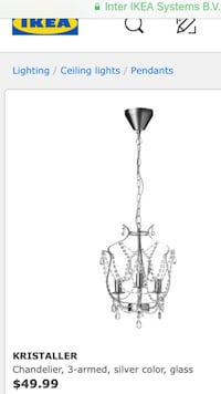 Chandelier, 3-armed, silver color, glass Orchard Park, 14127