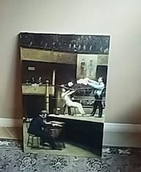 black and white wooden framed wall mirror