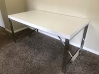 Modern White Dining Table; Chrome Legs Frederick, 21703