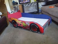 blue and red car bed frame