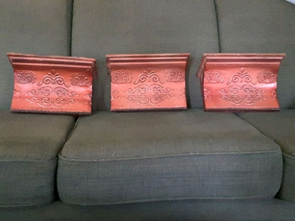 3 Red decorative metal and wood shelves
