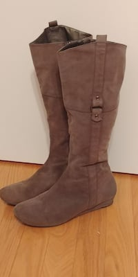 Grey small wedge knee high women's boots (size8.5)