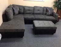 Brand New Gray Microfiber Sectional Couch With Storage Ottoman And Pillows  Maple Valley, 98038