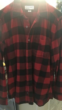 red and black American Apparel sport shirt