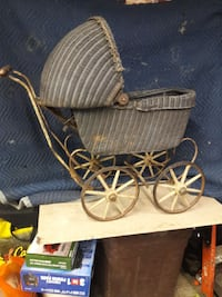 wicker brown pram stroller miniature