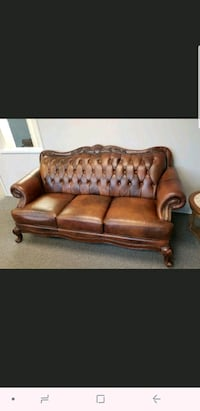 brown leather 3-seat sofa Monument, 80132