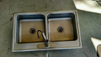 Sink double basin stainless steel sink.