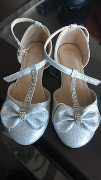 pair of gray open-toe ankle strap heels Mississauga, L5R 3Y7