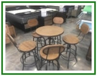 Counter Height Pub Table & Chairs Steel With Wood Denver
