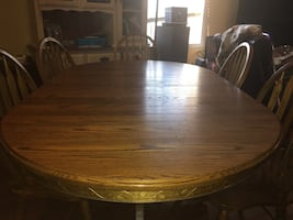 Solid Oak Dining Table & Chair Set