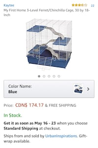 New!! My First Home 3-Level Ferret/Chinchilla Cage, 30 by 18-Inch St Thomas, N5R 6M6