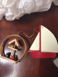 white and red wooden sailing boat decor Frederick, 21701
