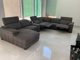 Modern Grey Sectional with recliner seats