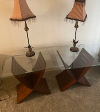 Glass tables with lamps