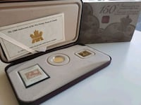 2001 Royal Canada Mint 3 Cents 24K Gold Plated Coin + Stamp set Calgary, T2R 0S8