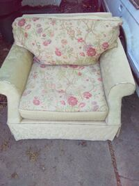white and pink floral sofa chair