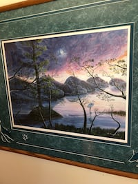 Moonlight Wolves singed and numbed framed lithograph  Charlotte, 28269