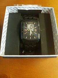 square black Express chronograph watch in box