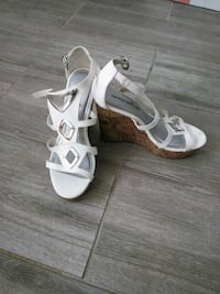 pair of white leather open toe ankle strap heels Woodbridge, 22192